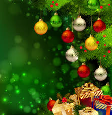 green christmas background with gifts and ornaments gallery