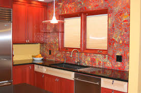 kitchen cracked effect red accent glass backsplash shiny
