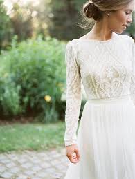 Long Sleeved Wedding Dresses This Cream Lace Top Pairs So Well With This High Waisted Skirt