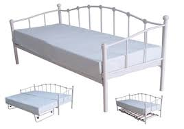 White Metal Daybed With Trundle Day Bed 3ft White Metal Daybed With Guest Bed