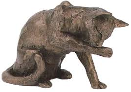 muffin cat washing bronze sculpture frith cats