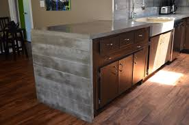 charming grey color kitchen concrete countertops features dark