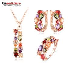 rose zircon necklace images Lzeshine new top rose gold plated flower multicolor cubic zircon jpg