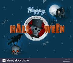 halloween raven background halloween design background with haunted castle and skull with a