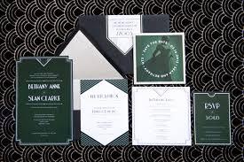 deco wedding invitations modern deco glam ruffled