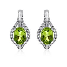 14k white gold earrings oval peridot and diamond teardrop huggie earrings in 14k white