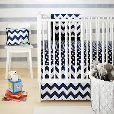 zig zag baby crib bedding set in navy rosenberryrooms com