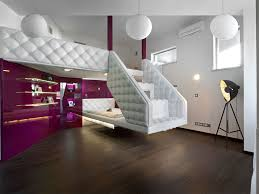 modern loft master bedroom for with white and purple color