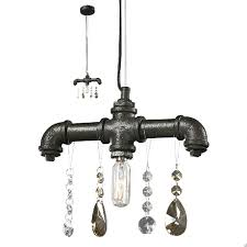 black crystal pendant light industrial water pipe and crystal pendant lighting 7409 free ship