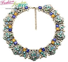fashion statement collar necklace images Vintage multi color stone flower chunky statement choker collar jpg