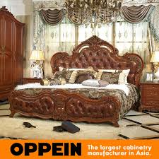 Solid Bedroom Furniture Luxury And Traditional Solid Wood Bed With Brown Leather Bedroom