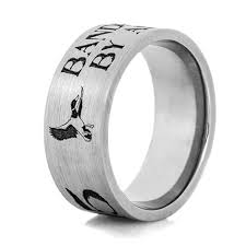 duck band wedding rings titanium rustic flying duck band ring titanium buzz