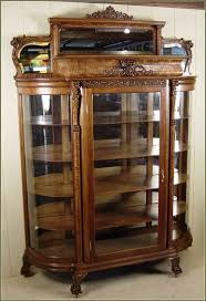 antique curio cabinet with curved glass classy idea curved glass china cabinet oak curio cabinets foter