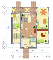 architectural multicolored plan of 1 floor of house with a