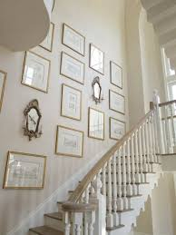 amazing staircase art gallery with ivory walls paint color gold