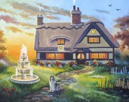 cottage painting etsy