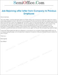 Letter Of Intent Sample Employment by Sample Job Rejoining Offer Letter Of Old Employee