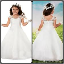 communion gowns cut formal beading princess scoop neck white communion