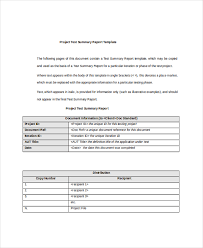 summary report template 7 project summary templates free word pdf document