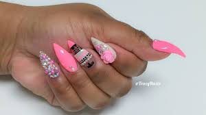 pink pearl tribal acrylic nails youtube