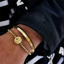 fashion stainless steel bracelet images Simple fashion stainless steel gold color bracelet men titanium jpg