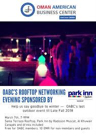 canape inn oabc rooftop networking event park inn muscat australian