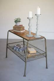 wood and metal console table williston forge grigg wood and metal console table with wire mesh