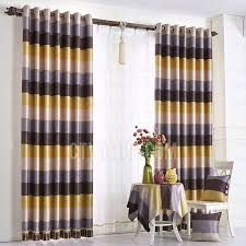 Yellow Stripe Curtains Simple Modern Yellow And Coffee Horizontal Striped Curtains