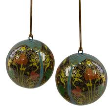 fair trade blue papier mache ornaments set of 2 ecopartytime