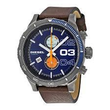diesel double down 2 0 chrono blue dial brown leather strap men u0027s