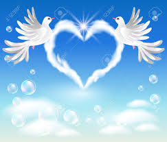 two doves in the sky and cloud with shaped royalty free