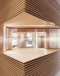 wooden layered walls within new york shoe store woodz