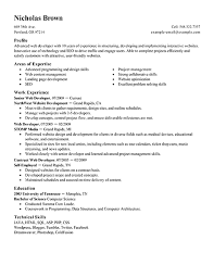 Areas Of Expertise Resume Areas by Interesting Web Developer Resume Template Sample Featuring Areas