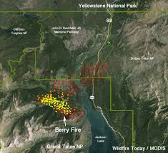 Wildfire Map America by Berry Fire Closes South Entrance To Yellowstone National Park