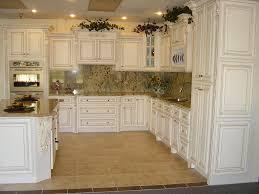 astonishing white shaker antique kitchen cabinet with mosaic tiles