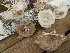 burlap wordy bird ornaments faith