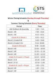winter timing schedule