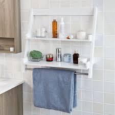 Walmart Bathroom Shelves by Sobuy Frg117 W White Wall Mounted Shelf Storage Display Ladder