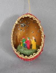 1950s vintage genuine goose egg diorama ornament three