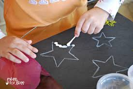 kids art project q tip star art mess for less