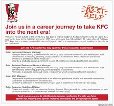Send Resume To Jobs by Jobs In Kfc For Restaurant General Manager Shift Manager 17 April