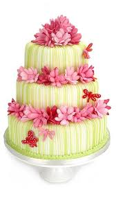 green wedding cake with pink and red flowers
