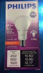 Philips 40 60 100w Equivalent 3 way A21 LED Light Bulb
