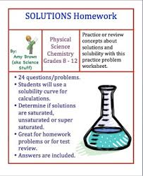 solutions homework worksheet by amy brown science tpt