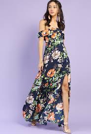 Floral Off The Shoulder Side Slit Maxi Dress Shop New And Now At
