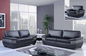 Leather Sofas Sets Trendy Black And Grey Modern Bonded Leather Sofa Set Gf7230