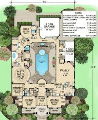 large estate house plans this luxury house plan features a large central courtyard