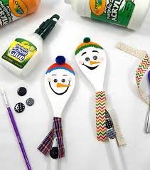 how to make christmas decorations wooden spoon snowmen joann