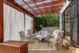 Curtains For Pergola Toile Curtains Deck Contemporary With Outdoor Drapery Patio