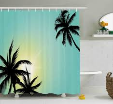 Hawaiian Print Shower Curtains by Tricia Modern Hawaiian Miami Beach Island Palm Trees With Sun Like